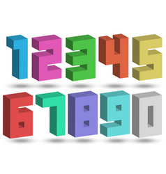 set 3d numbers bright multicolored vector image