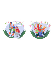 set people eat in park or at street food festival vector image
