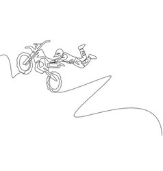 Single continuous line drawing young motocross vector