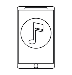 smartphone music note digital app outline vector image