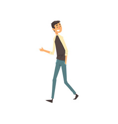 smiling young man walking in casual clothes vector image