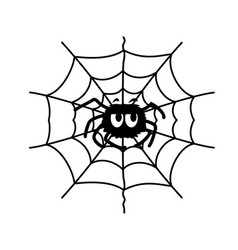 spider web and fun spider black graphic vector image