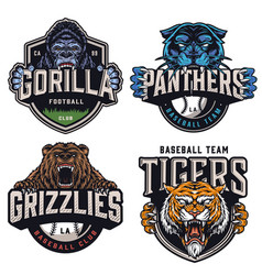 sports teams colorful vintage badges vector image