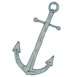Steel Ship Anchor and Red Lifebuoy vector image