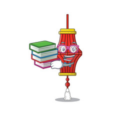 Student with book chinese paper lanterns mascot vector