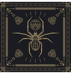 Thin line spider hipster label vector image