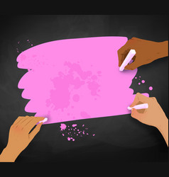Three female hands drawing with chalk vector