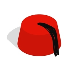 Turkish hat fez icon isometric 3d style vector image