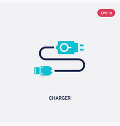 Two color charger icon from electrian connections vector