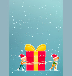 two little boys move a christmas gift vector image