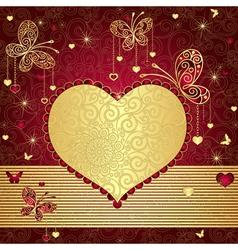 Vintage gold-red valentine frame vector image