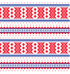 Winter cross-stitch pattern sami folk art vector