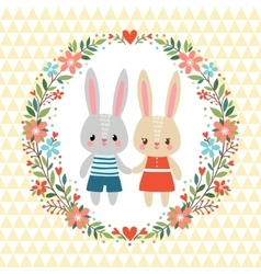 with bunnies vector image