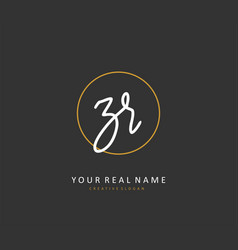 Zr initial letter handwriting and signature logo vector