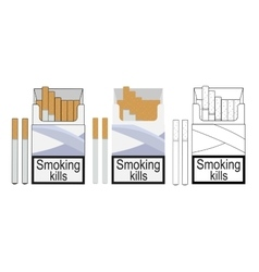 Cigarette pack icons color no outline linea vector