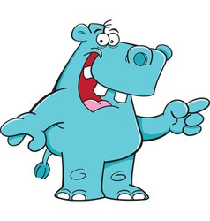 Cartoon hippo pointing vector image