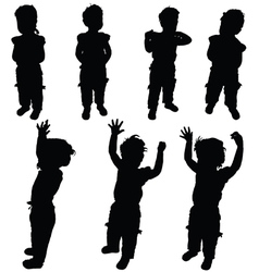 child little in various pose silhouette vector image vector image