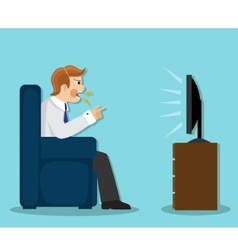 evil man watches TV vector image