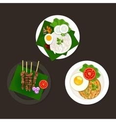 indonesian malaysian food nasi goreng lemak sate vector image vector image