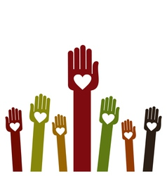 People hands up background vector image