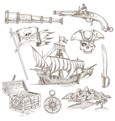 pirate elements hand drawn set vector image