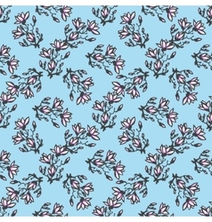 seamless pattern with twig magnolia chinese style vector image vector image