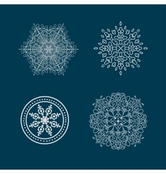 Set of round calligraphic patterns or snowflakes vector image vector image