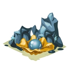Blue pearl in golden shell among the rocks vector