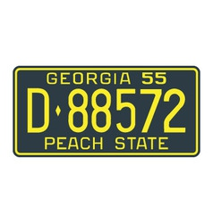 Georgia 1955 license plate vector image vector image