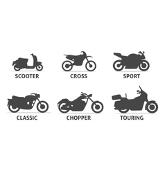 Motorcycle Type and Model Objects icons Set vector image