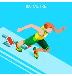 Running 2016 Summer Games Isometric 3D vector image