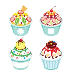 Shave Ice With Different Topping Set vector image