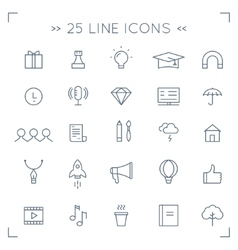 Web Community and Social Media Lined Icons vector image vector image