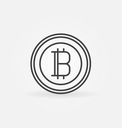 bitcoin line icon cryptocurrency round vector image vector image