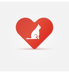 Bright cat in heart icon vector image vector image