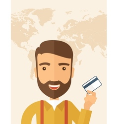 Business man holding credit card vector image vector image