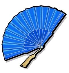 Classic Oriental blue open fan vector image