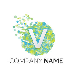 letter v logo blue green yellow particles vector image