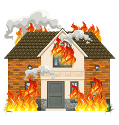 a modern house on fire vector image