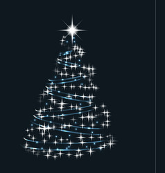 abstract shining blue and white christmas tree vector image