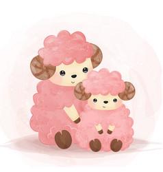 Adorable lamb motherhood in watercolor vector