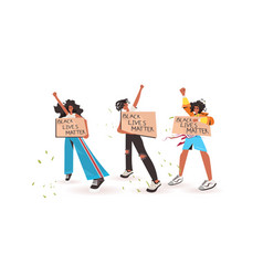 African american people holding black lives matter vector