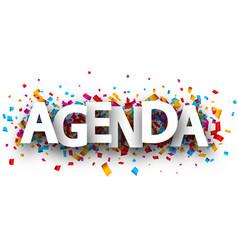 Agenda sign with colorful confetti vector