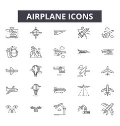 airplane line icons signs set outline vector image