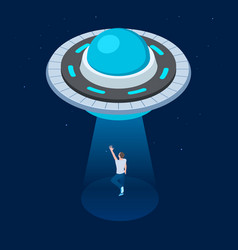 aliens abduct man ufo flying spaceship vector image