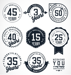Anniversary Badges and Labels in Vintage Style vector