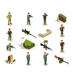 Army military isometric elements set vector