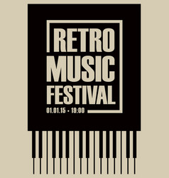 Banner for retro music festival with piano keys vector