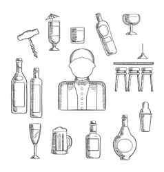 Bartender with alcohol and cocktails vector