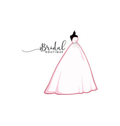 beautiful pink bridal boutique logo icon sign vector image